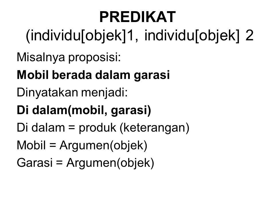 PREDIKAT (individu[objek]1, individu[objek] 2